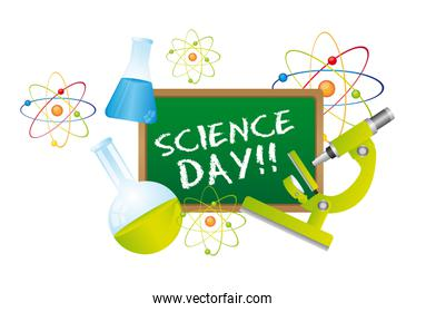 science day text over chalkboard with science elements vector