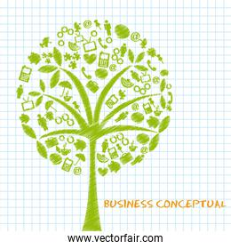 green business conceptual trees scribbled vector illustration