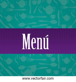 Menú over a green cutlery vector illustrator
