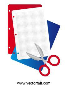 Red blue and withe paper with scissors isolated over white backg