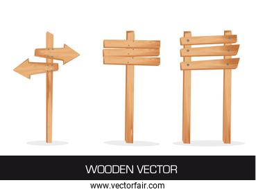 three wooden indication isolated over white background vector