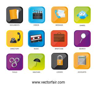 colorful icons web isolated over white background vector