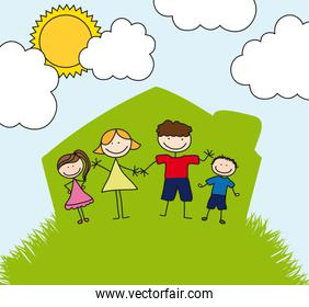 happy family over house drawing lanscape vector illustration
