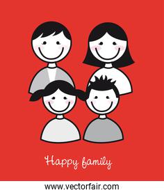 cute happy family over red background vector illustration