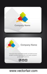 business card with logo over gray background vector