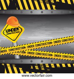 under construction background road sign vector