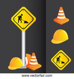construction icons road sign vector illustration