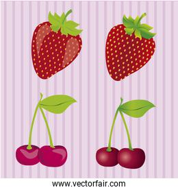 strawberries and cherries 3D and cartoon