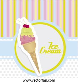 ice cream cone sticker on background with colored lines