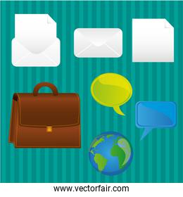 business icons turquoise background lines contains sheets of let