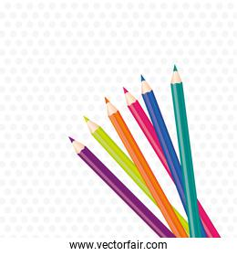 background brightly colored pencils on gray dots