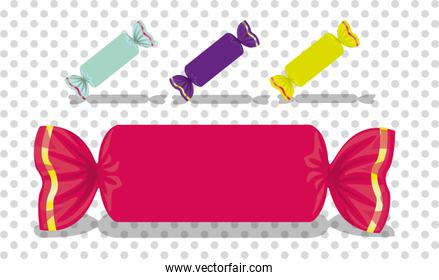 set of rectangular colored candies vector illustration
