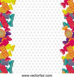 sides dotted background filled with colorful candies