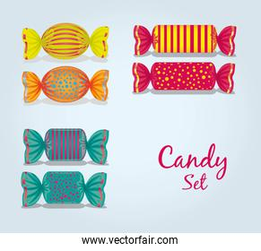 candy set rectangular square oval lines and dots vector illustra