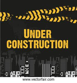 buildings with yellow and black ribbon grunge background vector