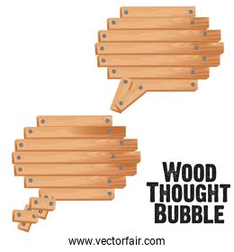 text bubbles with wood plank vector illustration