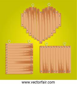 set of wood panels with grommets for hanging including: heart an
