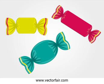 colored candies isolated on light gray background vector illustr
