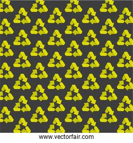 pattern of recycling icons isolated on gray background