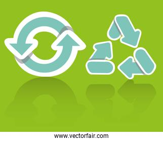 Recycling icon set on a green background vector illustration