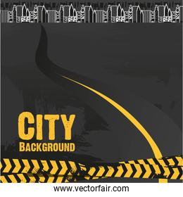 Road to the city black and yellow tape on grunge background