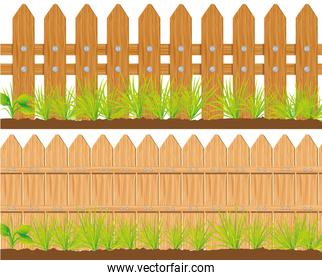 two styles of wooden fences vector illustration