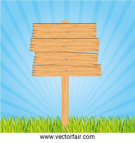 wooden sign on a bed of grass and sky vector illustration