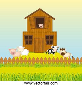 Barn farm with animals vector illustration