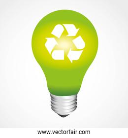 green light bulb recycling symbol isolated on white background