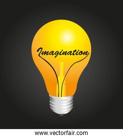 bulb on concept imagination vector illustration