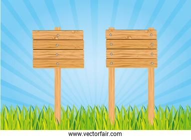 wooden sign isolated on white background vector illustration