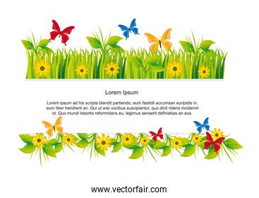 butterflies with grass with space for copy nature vector illustr
