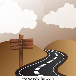 road with wooden sign with mountains landscape vector