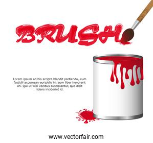 paintbrush with paint bottle with space for copy vector illustra