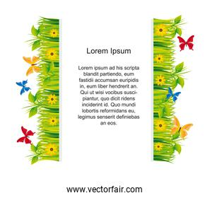 garden with butterflies with space for copy vector illustration