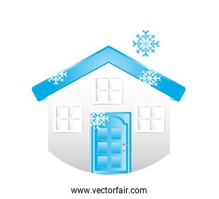 house with snowman isolated over white background vector