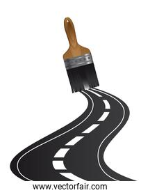 road paint over white background vector illustration