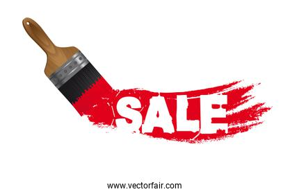sale paint with brush isolated over white background vector