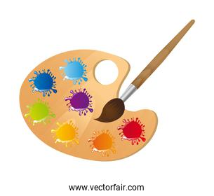 Wooden art palette with paintbrush over white background vector