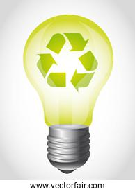 green light bulb with recycle sign over gray background vector