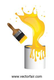 yellow brush paint with paint bottle over white background vecto