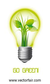 ecology light bulb with leaves go green vector illustration