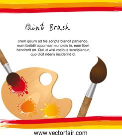 paint brush with wooden palette with space with copy vector