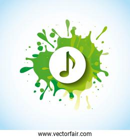 music note in splash of green paint