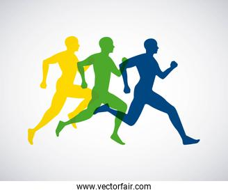 silhouette athletes running isolated icon design