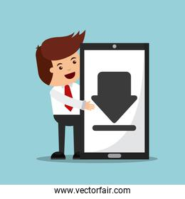 successful businessman character  with smartphone  isolated icon