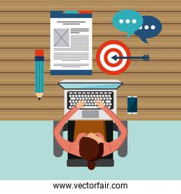Cartoon and laptop icon. Blog concept. Vector graphic
