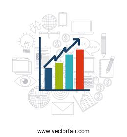 Infographic and media icon set. Blog concept. Vector graphic