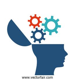 human head design. Creativity and think concept. Vector graphic