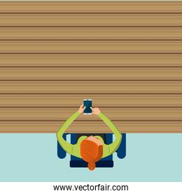 Cartoon and smartphone icon. Blog concept. Vector graphic